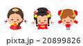 国旗を持った韓国と日本と中国の女の子セット 20899826
