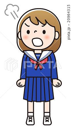 女子中学生 怒っているのイラスト素材 20964315 Pixta
