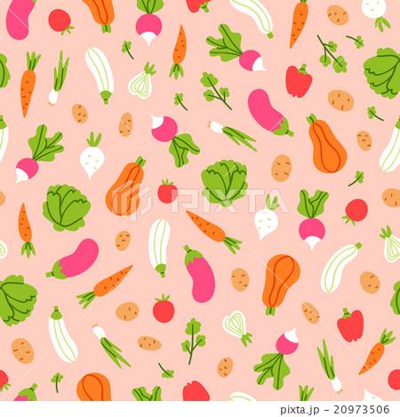 Vegetables pattern on peach backgroundのイラスト素材 [20973506] - PIXTA