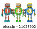 Colorful 123 numbers on vintage robots. Isolated 21023902