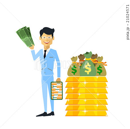 businessman with money gold isolatedのイラスト素材 21024571 pixta