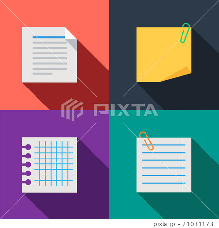 Blanks paper notes set color iconsのイラスト素材 [21031173] - PIXTA