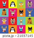 set of cute simple animal faces 21037145