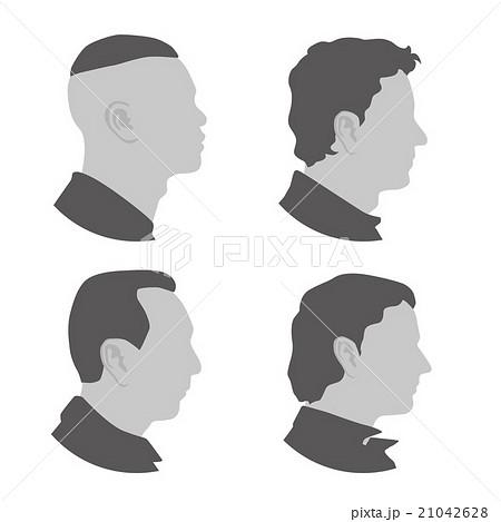 様々な国や人種の男性 横顔アイコン アバターのイラスト素材 21042628