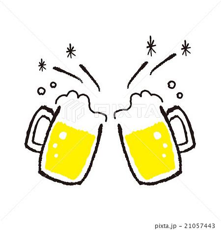 手描き風ビールで乾杯のイラスト素材 21057443 Pixta