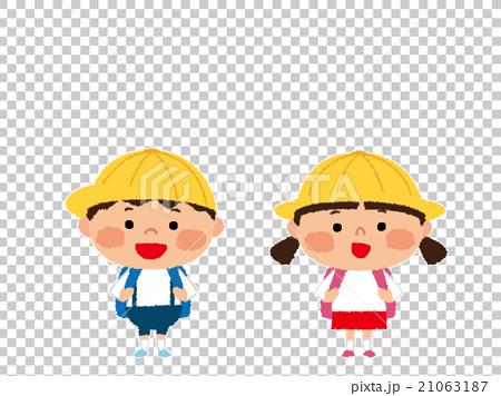 小学生(男の子と女の子) PNG白フチ有 21063187