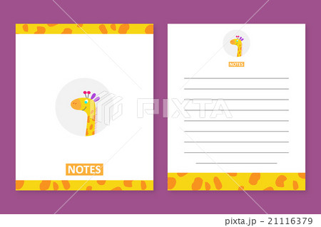 notes template with a cute giraffe のイラスト素材 21116379 pixta