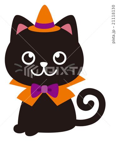 ハロウィン衣装を着た黒猫 21118130