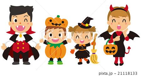 ハロウィンの仮装をする家族のイラスト素材 21118133 Pixta