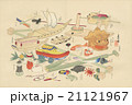 アンティークイラスト 川崎巨泉(1877-1942)作「おもちゃ絵:8月のおもちゃ」 21121967