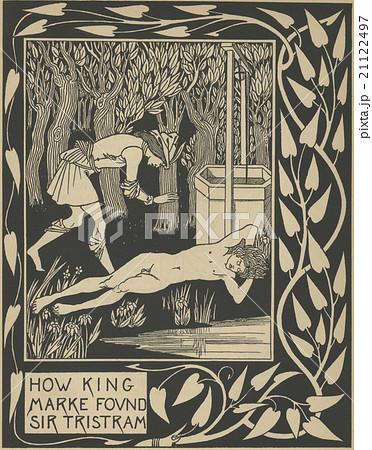 アンティークイラスト オーブリー・ビアズリー「アーサー王の死」(1893 ...