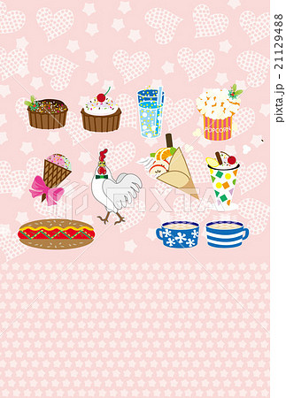 ニワトリとスイーツとホットドッグの可愛いピンクのグリーティングカード 21129488