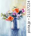 花の水彩画 ばら 生け花のスケッチ 21137224