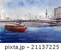 隅田川の屋形船と東京スカイツリー 21137225