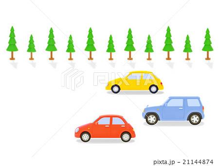 カラフルな3台の車と街路樹 21144874
