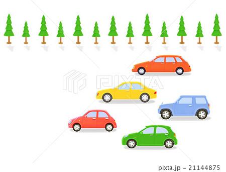 カラフルな5台の車と街路樹 21144875