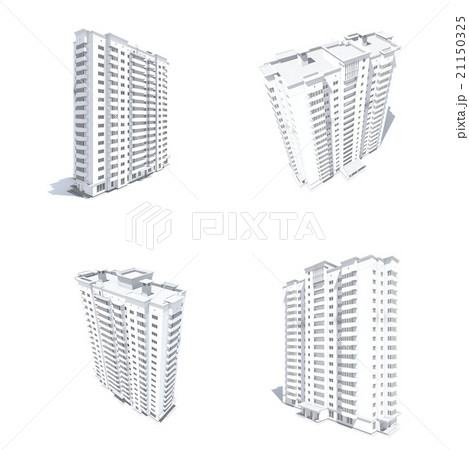 Multi-storey building monochrome renderのイラスト素材 [21150325] - PIXTA