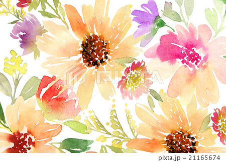 Greeting card. Watercolor flowers background 21165674