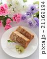 手作りコーヒーマーブルシフォンケーキと花 21169194