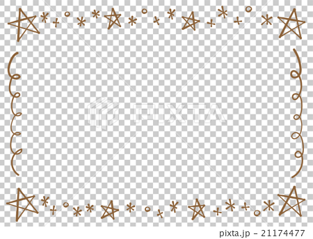 Fashionable handwriting pen style style simple star · glitter frame copy space transparent png · white background 21174477