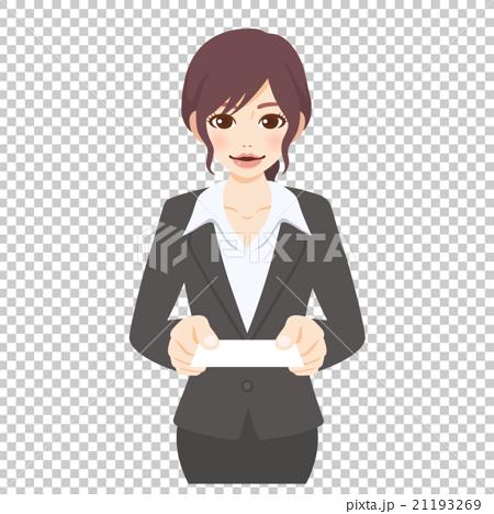 若い女性 スーツ 名刺交換(横長) 21193269