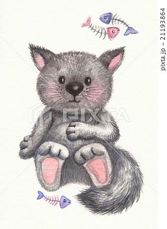 Gray kitten cartoon. 21193864