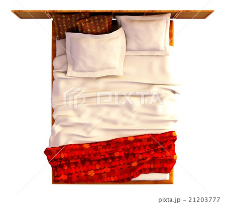 Bed Top View Isolated On Whiteのイラスト素材 [21203777] - PIXTA