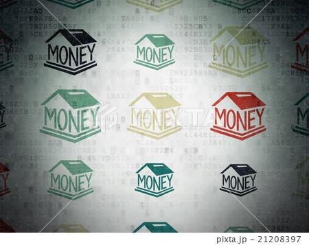 Money concept: Money Box icons on Digital Paperのイラスト素材 [21208397] - PIXTA