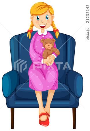 Little woman hugging teddy bear 21232142