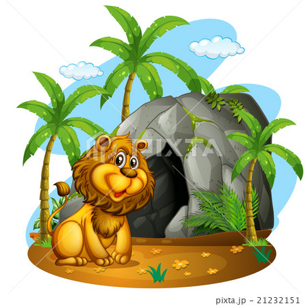 Lion sits in front of cave 21232151