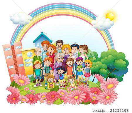 Family members standing in the gardenのイラスト素材 [21232198] - PIXTA