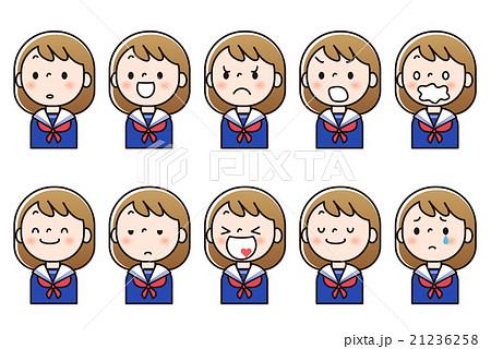女子中学生 表情のバリエーションのイラスト素材 21236258 Pixta