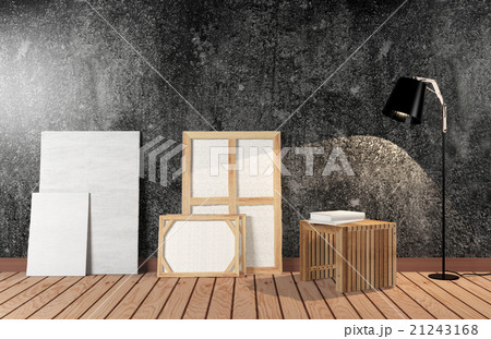 Room interior with canvas on black cement wall 21243168