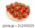 木の皿に盛られた新鮮なへた付きミニトマト 斜め上俯瞰 全体 21250325