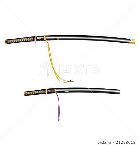 日本刀大小拵え刀身有りのイラスト素材 21253618 Pixta