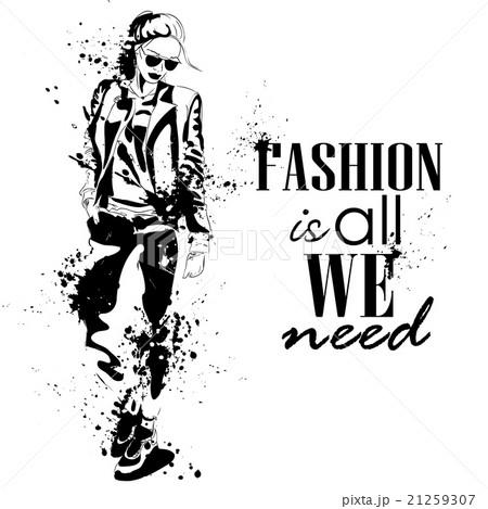 fashion look girl with splashesのイラスト素材 [21259307] - PIXTA