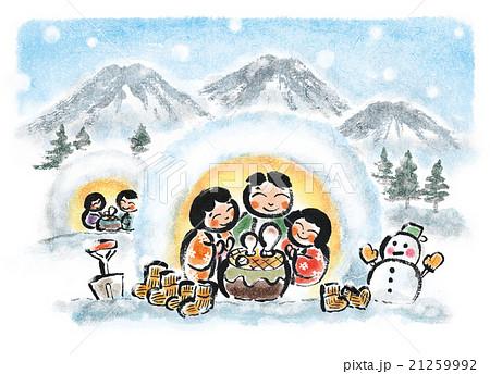 【寒中見舞い】和風イラスト・雪・冬景色・かまくら 21259992