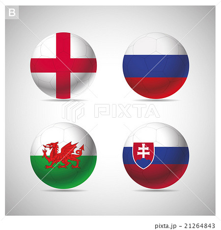 soccer balls with group B teams flags.のイラスト素材 [21264843] - PIXTA