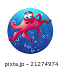 Underwater cartoon comic octopus in ocean 21274974
