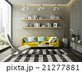 Interior of modern design room with yellow couch 21277881