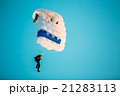Skydiver On Colorful Parachute In Sunny Sky 21283113