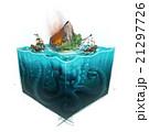 海 大洋 浮かぶ島のイラスト 21297726