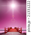 縦長 日本式 橋 横長 木製 朱塗り 赤 逆光 夜 紫 雲 CG 21331222