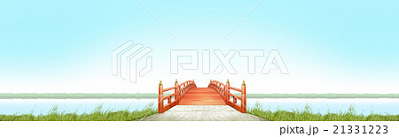 横長 日本式 橋 木製 朱塗り 晴れ 青空 CG 21331223