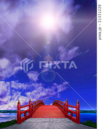 縦長 日本式 橋 木製 朱塗り 赤 夜 雲 逆光  CG 21331226