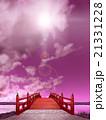 縦長 日本式 橋 木製 朱塗り 夜 紫 逆光 CG 21331228