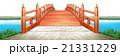 横 日本式 橋 川面 木製 朱塗り 白背景 CG 21331229