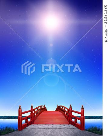 縦長 日本式 橋 木製 朱塗り 夜 青 逆光 CG 21331230
