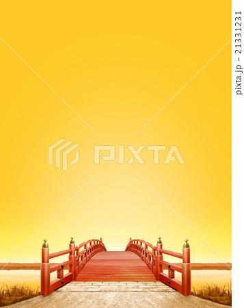 縦長 日本式 橋 木製 朱塗り 夕景 晴天 CG 21331231