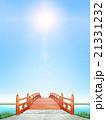 縦長 日本式 橋 木製 朱塗り 逆光 晴天 CG 21331232
